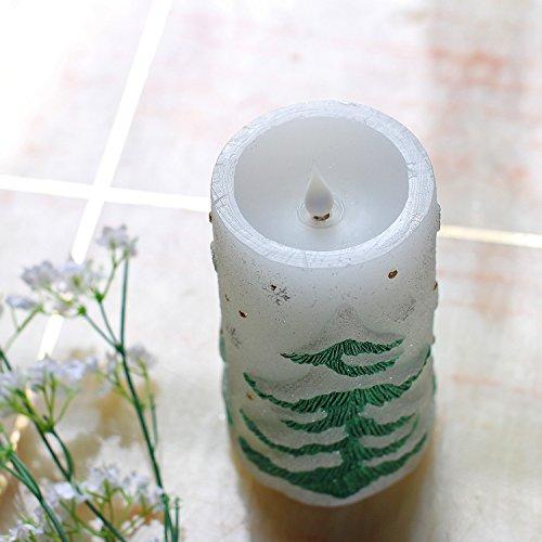 Velas de Navidad, árbol de Navidad en forma de vela sin llama LED, en movimiento 3D Flame Wick, cera real, con pilas, temporizador, blanco, 3x6 pulgadas (7.6x15.2cm)