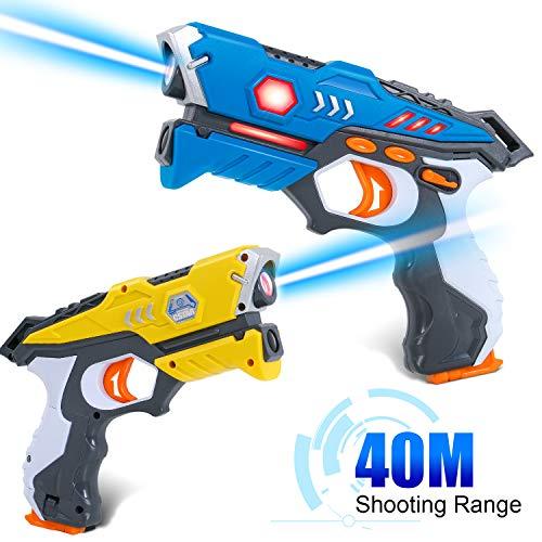 SGILE 2X Laser Tag Pistolen Set, LaserTag Blaster mit Licht & Sound, Mehrspieler Lasertag Spiel Aktive Spielzeug für Kinder Jungen Mädchen Familien, Toy Gun Laser Game für Indoor Outdoor Geschenk (Spiel Licht)