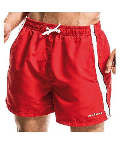 AQUA-SPEED Herren Badehose - Mit Mesh-Innenfutter - Mit Bindeschnur Und Taschen - Aus Schnelltrocknendem Polyester - #AsHENRY Rot/Weiß