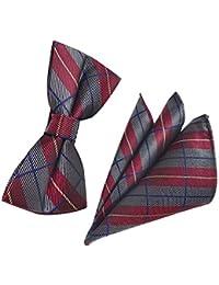 JUNGEN Pajaritas y pañuelo para Hombre Pajarita Estampada con Decoración a Cuadros y Rayas Toalla de