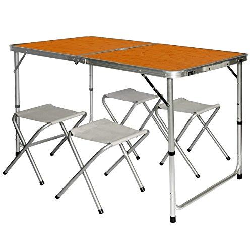 AMANKA Mesa para Acampada 120x60x70cm Incl 4 Taburetes Plegable portátil como si Fuera un maletín Altura Regulable para pícnic Camping Bambú