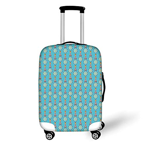 Travel Luggage Cover Suitcase Protector,Lighthouse,Summer Season Inspired Zigzag Pattern Marine Theme Vacation Helm Navigation Decorative,Blue Red Yellow,for TravelL 25.9x37.8Inch Basic-marine-navigation