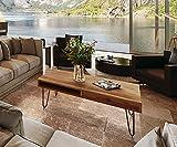 AISER Royal Massiver Echt-Holz Couchtisch -Lonavala- 115 x 60 cm aus besonders schön gezeichnetem Akazien-Holz mit schwarzen Metall-Beinen in modernem zeitlosen Design mit Schublade