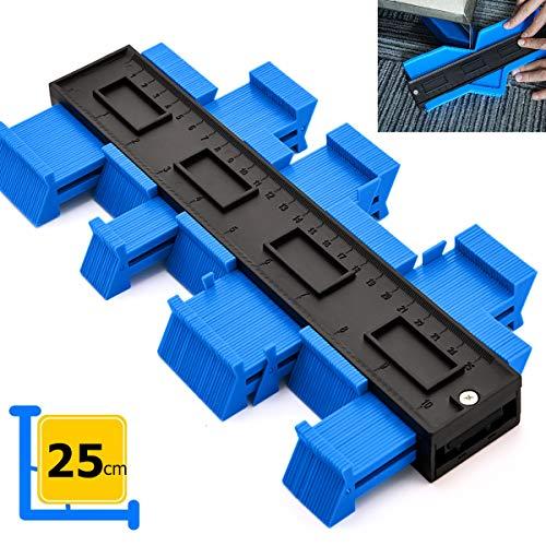 Konturenlehre Groß Konturmessgerät 250mm Kontur Duplikator Werkzeug Messgeräte Profil Vervielfältigungslehre Kopierlehre Markierungswerkzeug Laminat Fliesen Markierwerkzeug (Blau)
