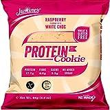 Justine's low carb Himbeer-Cookie mit weißer Schokolade   Kohlenhydratarm 2,3g   Proteinreich   Ohne Zuckerzusatz   Glutenfrei  Ohne Weizen   6 x 64g