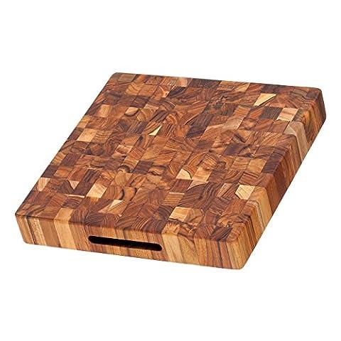 Billot carré en teck avec poignées intégrées 30 x 30 cm