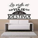 Pegatinas en español cita vinilo etiqueta de la pared calcomanías Mural Wall Art Wallpaper para sala de estar decoración del hogar decoración de la casa 45X55CM