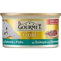 Gourmet Gold Gatto Dadini in Salsa con Salmone e Pollo, 85 g - Confezione da 24 Pezzi