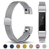Für Fitbit Alta HR Armband, eDriveTech Schlaufe Edelstahl Metallarmband mit Magnetverriegelung Uhrenarmband Verstellbarem Ersatzband Damen Herren Armbänd für Fitbit Alta HR und Alta Fitness Tracker