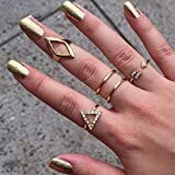 jellbaby buyinhouse Fans Charms 7/Set Ringe Urban Gold Stack Plain Cute vor Knuckle Ring Band Midi Ring 5pcs golden