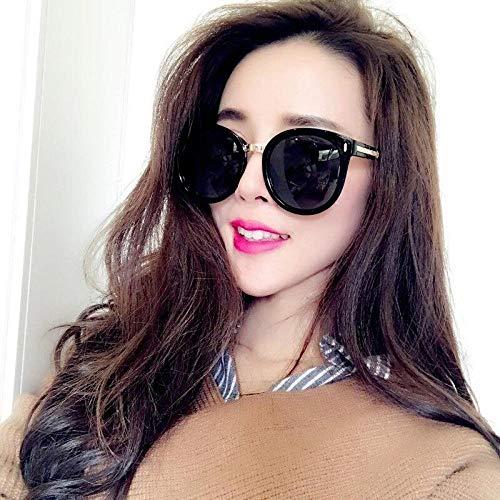 New rosa Sonnenbrille weiblichen runden Gesicht Sonnenbrille UV-Brille schwarz großen Rahmen (eisblau), schwarz großen Rahmen (schwarz grau) _ (eine Brille), um Sonnenbrille Aufbewahrungstasche + Rei