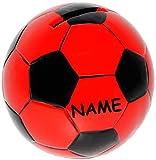 alles-meine.de GmbH Große Spardose -  Fußball / Ball - Rot & Schwarz  - Incl. Name - Stabile Spa..