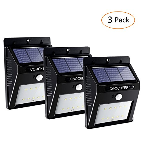 3Pack 10 LEDs Solarleuchte mit Bewegungsmelder, Solarleuchten für Aussen, Aussenleuchte Wand mit Bewegungsmelder, Solarlampe für Wände, Auffahrt, Garage, Hof, Flur, Veranda, Deck, Pfad und Balkon