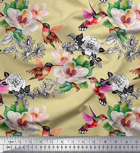 Soimoi Beige Baumwoll-Popeline Stoff Kolibri, Laub & Magnolie Blumen- Stoff Drucke Meter 42 Zoll breit - Kolibri-stoff
