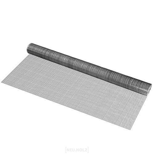 [pro.tec] Drahtgitter (4-Eck)(1m x 5m)(verzinkt) Schweißgitter Volierendraht Maschendraht Zaun