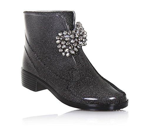 Guess Schwarze Stiefelette Aus Gummi, auf der Vorderseite eine Dekorative Schleife und Gummisohle, Mädchen-33 (Guess Kinder Schuhe)