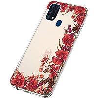 Funda para Samsung Galaxy M31, Cárcasa Transparente con Dibujos Diseño, Ultra Slim Suave Gel TPU Silicona Antigolpes Resistente Case Cover Bumper Fundas Samsung Galaxy M31, Flor Roja