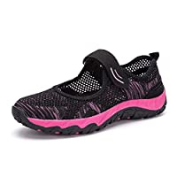 H-Mastery Womens Trainers Walking Jogging Gym Fitness Lightweight Mary Janes Shoes Velcro Mesh Casual Sports Sneaker(Black Pink,Size 6 UK)