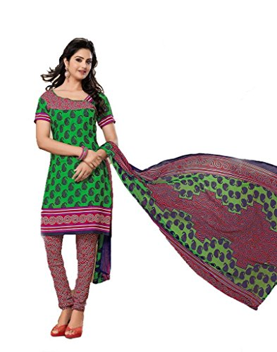 Vineberi Pretty And Stunning Unstitched Printed Crepe Green Salwar Suit Dress Material  available at amazon for Rs.399