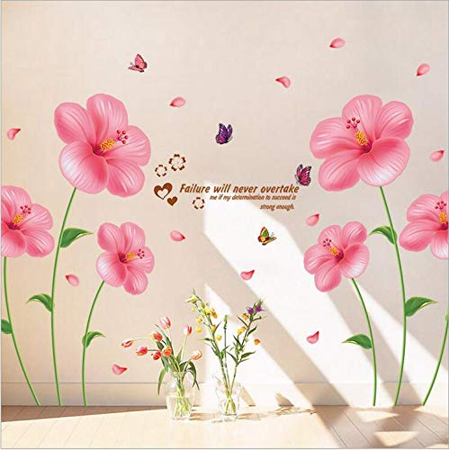 Dekorative Malerei, TV-Hintergrundbild, aufklebbare Applikation, 2 Sätze Hibiskus-Pflanzen, groß
