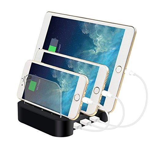 ELEGIANT Station de Recharge, 5Ports Multi-dispositivi Organisateur de câbles, Charging Docks Chargeur Rapide, Multi-Porto USB Chargeur de Bureau, Portable Chargeur de Table USB caricato