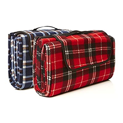 SIGNATURE LEISURE Blue or Red Tartan Large Waterproof Picnic Blanket - Light, Compact Picnic Rug - Fleece Travel Rug - Baby Crawling Mat, Child Play Mat - 150cm x 180cm
