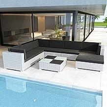 Anself Rattan Lounge Set Loungemöbel Loungeset Loungegruppe 24 Teilig Weiß