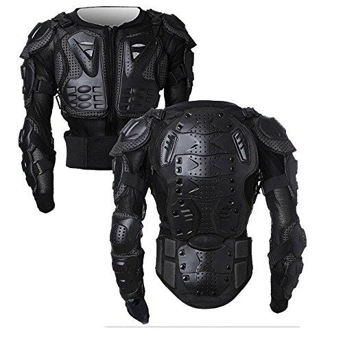 SunTime Motorrad Vollkörper Rüstungsschutz Pro Street Motocross ATV Schutzhemd Jacke mit Rückenschutz (Schwarz, XL)