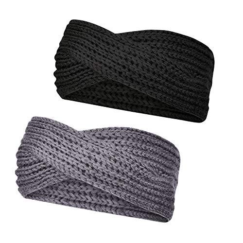 Stynice 2 Stück Stirnbänder Damen Schleife Design - Winter Kopfband Haarband für Damen Mädchen - 2 Stück Stirnband