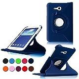 Samsung Tab 3 Lite 7.0 Case,Dunkelblau 360° Drehbares Ledertasche Schutzhülle Leder Tasche Samsung Galaxy Tab 3 Lite 7.0 T110 T111 (7 Zoll) Hülle Leder Etui Flip Case Cover mit Schwenkbar flexiblem Ständer