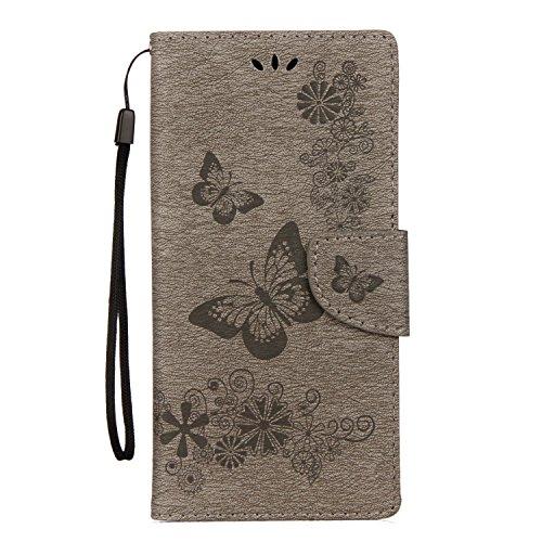 Cover Samsung Galaxy Note 8, Alfort Custodia Protettiva in Pelle Verniciata Goffrata Farfalle e Fiori Alta qualità Cuoio Flip Stand Case per la Custodia Ci sono Funzioni di Supporto e Portafoglio Chiu Grigio