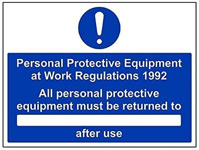 vsafety 41099bf-s Gebotszeichen, selbstklebend, alle Schutzbekleidung zurücksenden müssen... nach Gebrauch, Landschaft, 400mm x 300mm, blau