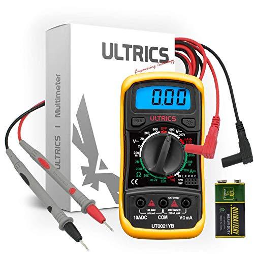 ULTRICS Multimetro Digitale Professionale Amperometro Voltmetro Ohetro Mini Portatile Multimeter Elettrico Amp Ohm Volt AC/DC Corrente Tensione