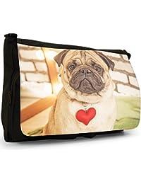 Preisvergleich für Mops Möpse Liebe kleine Hunde Große Messenger- / Laptop- / Schultasche Schultertasche aus schwarzem Canvas