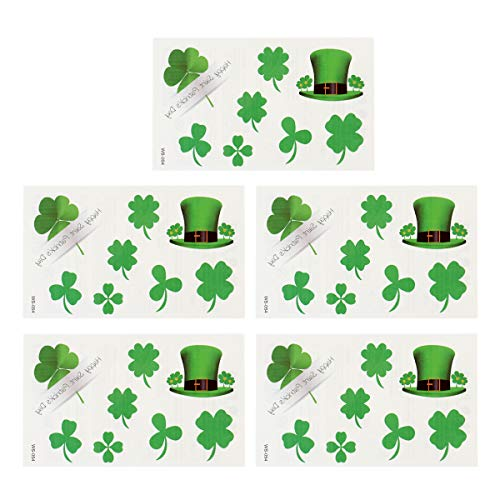 BESTOYARD 20 Blätter St. Patrick's Day Tattoo Aufkleber Klee temporäre Tattoos Wasserdichte Tattoo Aufkleber für Festival Party Club Decor -