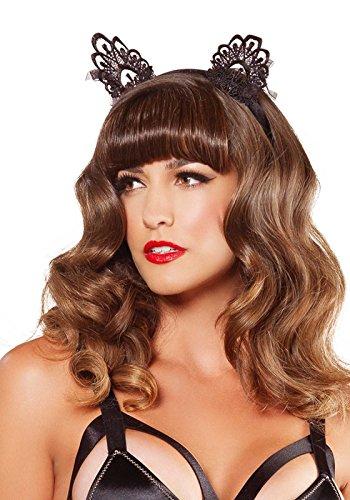 Leg Avenue A2743 - Häschenohren Haarreif aus venezianischen Spitzen, schwarz (Avenue Burlesque Leg Kostüme)