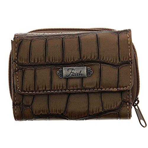 Croc-Embossed Wallet w/Faith Badge - Croc Embossed Wallet