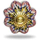 Ceramic Melon Knob Pink and Yellow flower Brass Finish By Trinca-Ferro