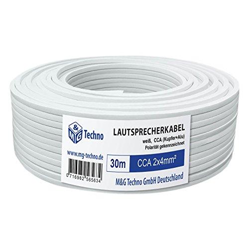 30m Lautsprecherkabel 2x4mm², rechteckig, weiß, CCA, Boxenkabel, mit Metermarkierung, in bewährter M&G Techno-Qualität