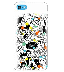 PrintDhaba MULTI FACE PATTERN D-6725 Back Case Cover for APPLE IPHONE 5C (Multi-Coloured)