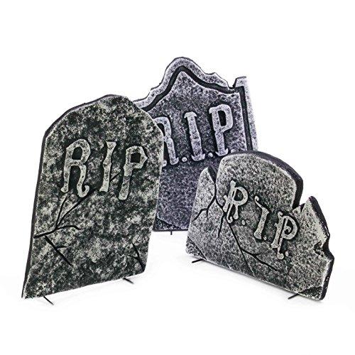 Halloween Grabsteine KRAMPUS, 3 Stück, Steinoptik, Styropor, Totenschädel, 51 cm, 50 cm, 34 cm - Friedhof Dekoration - (Halloween Grabsteine)