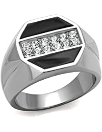 YourJewellerybox TK726 rectangle genuine ONYX MENS RING ALL SIZES 18KT STEEL BASE NO TARNISH 4Eh1C