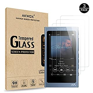 AKWOX (3 Pack) Tempered Glass Screen Protector SONY NW-A45, [0.3mm 2.5D High Definition 9H] Premium Clear Screen Protector SONY NW-A45HN/A46HN/A47HN