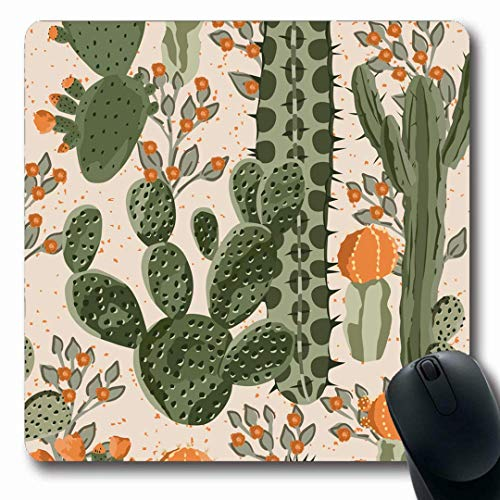 Luancrop Mousepads Baum-Aquarell-Muster-Grün-saftiger Kaktus-Orangen-Pflanzen-Blumen-Natur-mexikanische Wüsten-Birnen-mit Blumenrutschfestes Spiel-Mausunterlage-Gummilang-Matte -
