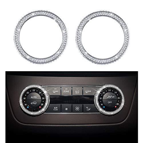 VDARK Zubehör Compatible with Mercedes Benz Parts Verkleidung Klimaanlage Regler Knopf Regler Kappen Abdeckung Innenblenden Dekorationen W204 X204 W166 X166 C Klasse GLK AMG Bling Kristall (Silber)