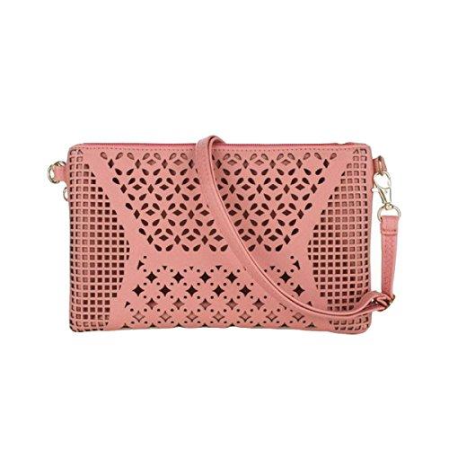 Busta Pochette Leggero Lungo Arco Cava Borsa Semplice Borsa Messenger Bag Pink