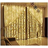 Curtain Lights, LED Twinkle Lights 9.8 x 9.8ft Warm White Curtain Icicle Lights With 8 Modes Controller for Holiday, Party, O