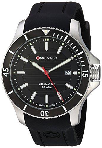 Wenger pour homme 'Seaforce' Swiss Quartz en acier inoxydable et en silicone montre décontracté, couleur: noir (modèle: 01.0641.117)