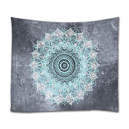 Tapiz mandala de Goodbath hecho de tela para colgar en la pared, estilo indio, bohemio y hippie, apto para dormitorio, salón o habitación compartida, 203,2 x 152,4 cm, color blanco y verde azulado, Mandala 2, 40 x 60 Inch