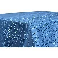 Tischdecke, FARBE wählbar, Streifen Damast Textil, Bügelfrei, Eckig 135x200 cm, Hellblau
